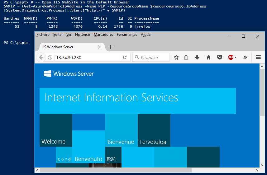 Azure com PowerShell: Execução do navegador de Internet por PowerShell