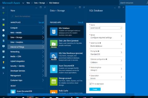 Azure: nova base de dados SQL