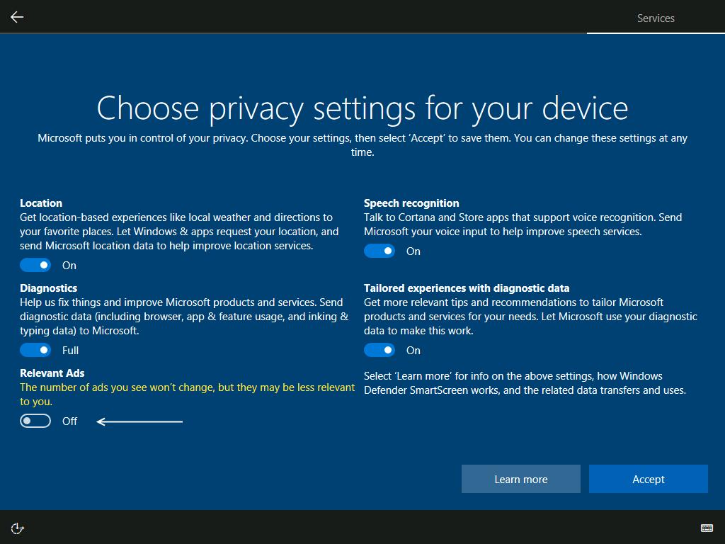 OOBE - Privacy Settings